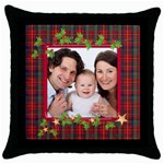 Tartan Garland Holiday Pillow - Throw Pillow Case (Black)