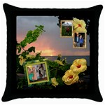 Hibiscus Sunset 2 frame throw pillow - Throw Pillow Case (Black)