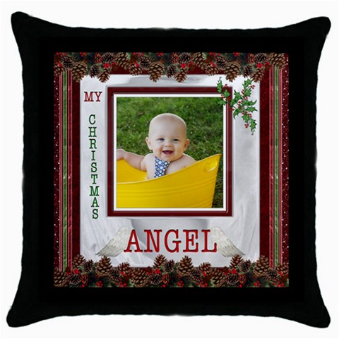 Christmas Angel Throw Pillow Case By Lil    Throw Pillow Case (black)   Hkf0brbaa6ae   Www Artscow Com Front