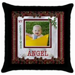 Christmas Angel Throw Pillow case - Throw Pillow Case (Black)