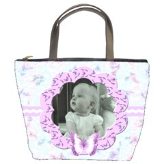 Lilac Butterfly Bucket Bag  By Claire Mcallen   Bucket Bag   A9y6yhpevttn   Www Artscow Com Front