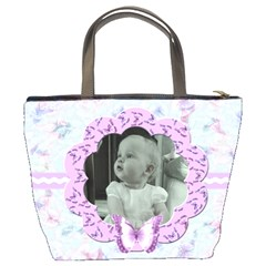 Lilac Butterfly Bucket Bag  By Claire Mcallen   Bucket Bag   A9y6yhpevttn   Www Artscow Com Back
