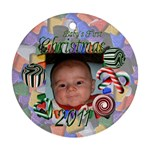 Baby s First Christmas Round Ornament - Ornament (Round)