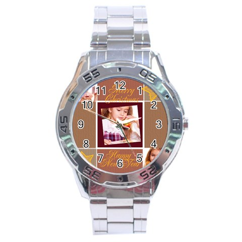 Xmas By Joely   Stainless Steel Analogue Watch   Oq9p0xlcd9js   Www Artscow Com Front