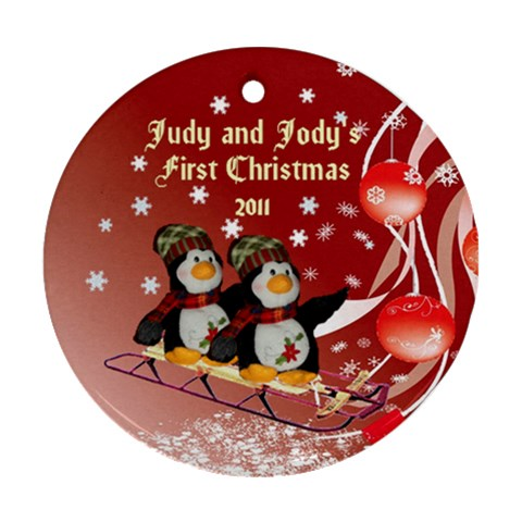 Twins First Christmas By Kim Blair   Ornament (round)   Ozxhwy7jngy5   Www Artscow Com Front