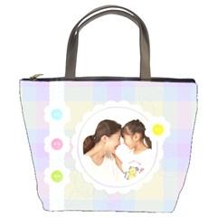 Love Friendship Pastel Bucket Bag By Purplekiss   Bucket Bag   17i2foqcq9ya   Www Artscow Com Front