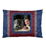 Blue and Burgundy Lace Pillow case