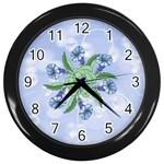 Blue Flower Clock - Wall Clock (Black)