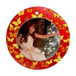red butterfly ornament - Round Ornament (Two Sides)