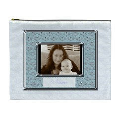 Pale Blue And Silver Classic  Love Cosmetic Bag Xl By Claire Mcallen   Cosmetic Bag (xl)   0xpbqmfoi2o4   Www Artscow Com Front