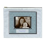 Pale blue and silver classic  love cosmetic bag xl - Cosmetic Bag (XL)