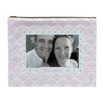 Pale pink and heart classic  love cosmetic bag xl - Cosmetic Bag (XL)