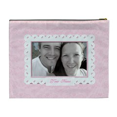 Pink Jewelled Classic Toile Love Cosmetic Bag Xl By Claire Mcallen   Cosmetic Bag (xl)   Qpsignkvpbpr   Www Artscow Com Back
