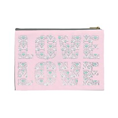 Pink Love Cosmetic Make Up Bag By Claire Mcallen   Cosmetic Bag (large)   Bm0i607el033   Www Artscow Com Back