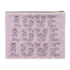 Pink Love Heart Classic Toile Love Cosmetic Bag Xl By Claire Mcallen   Cosmetic Bag (xl)   Dm02xv4luqlp   Www Artscow Com Back