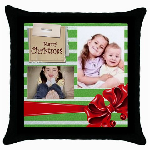Christmas By Wood Johnson   Throw Pillow Case (black)   Zv7wb9an1cmq   Www Artscow Com Front