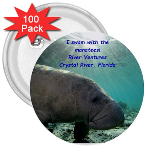 Manatee Button By Rosie Gammell   3  Button (100 Pack)   O3ahn4wqizoc   Www Artscow Com Front