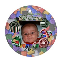 Babys First Christmas Two Sided By Chere s Creations   Round Ornament (two Sides)   67fdj18cvv4d   Www Artscow Com Back
