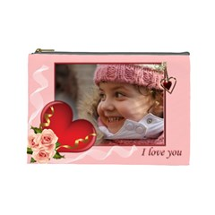 Love You (large) Cosmetic Bag By Deborah   Cosmetic Bag (large)   P9tkkom1hut0   Www Artscow Com Front