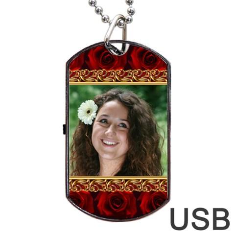Rose Romance Dog Tag Usb By Deborah   Dog Tag Usb Flash (one Side)   G78zqie5339w   Www Artscow Com Front