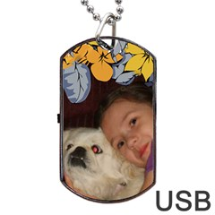 Flower Framed Usb Two Sides By Kim Blair   Dog Tag Usb Flash (two Sides)   Ztoxpchoza1n   Www Artscow Com Front