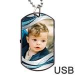 Blue Wave Dog Tag USB - Dog Tag USB Flash (One Side)