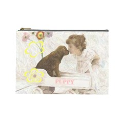 Puppy Love Cosmetic By Birkie   Cosmetic Bag (large)   Thnffglpc4ng   Www Artscow Com Front
