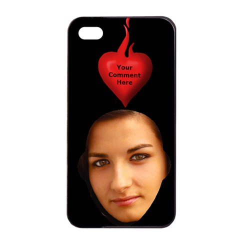 Flaming Heart Apple Iphone Seamless Case (black) By Deborah   Apple Iphone 4/4s Seamless Case (black)   Uqpj30lj11y3   Www Artscow Com Front