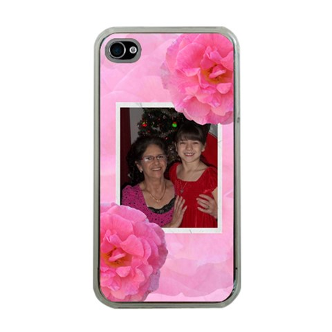 Pink Rose Apple Iphone 4 Case By Kim Blair   Apple Iphone 4 Case (clear)   1phsczh9rvy4   Www Artscow Com Front