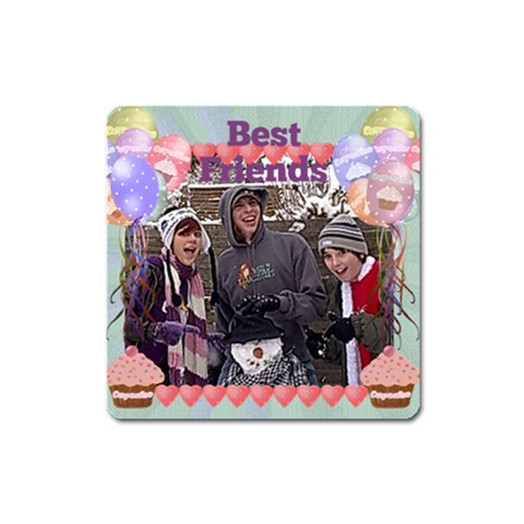 Best Friends Party Balloon Square Magnet By Claire Mcallen   Magnet (square)   Jmjc077ovz4s   Www Artscow Com Front