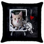 Love My Cat Throw Pillow Case - Throw Pillow Case (Black)