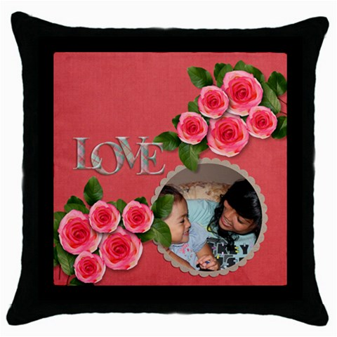 Throw Pillow Case (black): Love By Jennyl   Throw Pillow Case (black)   B3da7w63queu   Www Artscow Com Front