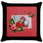 Throw Pillow Case (Black): Love
