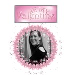 Be my valentine card pink balloons and sparkles - Greeting Card 5  x 7