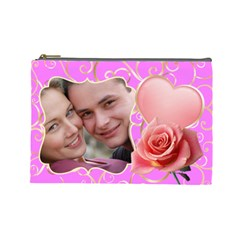 Pink Sweet Love Large Cosmetic Case By Deborah   Cosmetic Bag (large)   Fs9rdqzv7hpq   Www Artscow Com Front