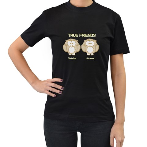 True Friends By Patricia W   Women s T Shirt (black)   M6kupseu7fm2   Www Artscow Com Front