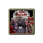 Best Friends red hearts square magnet - Magnet (Square)