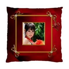 Red And Gold Framed (2 Sided) Cushion By Deborah   Standard Cushion Case (two Sides)   Zdes73ibwxhv   Www Artscow Com Front