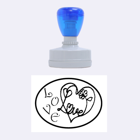 Love Heart By Claire Mcallen   Rubber Stamp Oval   Z4inh2j5mriw   Www Artscow Com 1.88 x1.37  Stamp