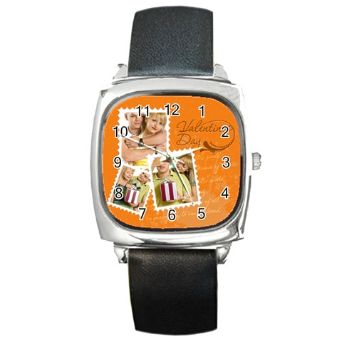 Love By May   Square Metal Watch   9xzgk4fhkffh   Www Artscow Com Front