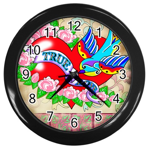 True Love Wall Clock (black) By Chaido   Wall Clock (black)   Nbmg2agiygqi   Www Artscow Com Front