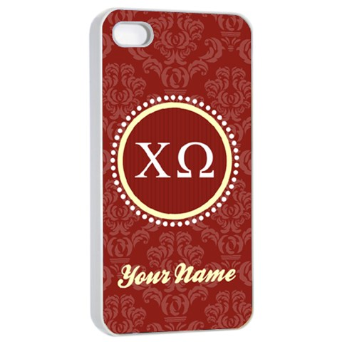 Chi Omega Sorority Iphone 4/4s Case By Klh   Apple Iphone 4/4s Seamless Case (white)   Hz0zr98o23f0   Www Artscow Com Front