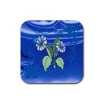 Blue Bouquet Coaster - Rubber Coaster (Square)