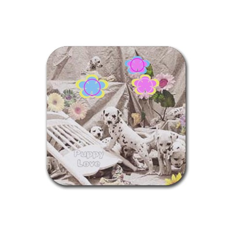 Puppy Love Coaster By Birkie   Rubber Coaster (square)   P71w8mo85q98   Www Artscow Com Front