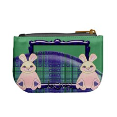 Tartan Love Bunny Blue And Green Mini Coin Purse By Claire Mcallen   Mini Coin Purse   N05zcngwbuay   Www Artscow Com Back