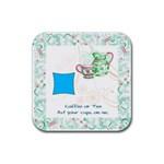green Coffee Coaster - Rubber Coaster (Square)