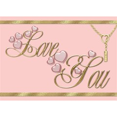 Pink I Love You 3d Card By Deborah   I Love You 3d Greeting Card (7x5)   Xfk136lhszr3   Www Artscow Com Front