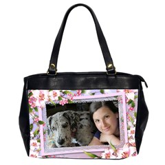 Pink Floral Oversize Office Bag (2 Sided) By Deborah   Oversize Office Handbag (2 Sides)   E3gdqzjc43c8   Www Artscow Com Front