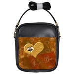 I heart you gold love2 girls sling bag