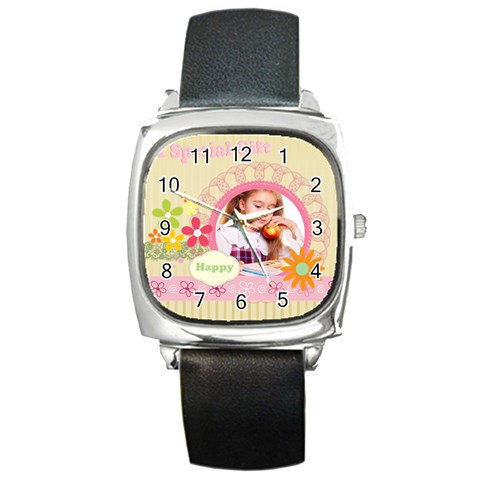 Girl Of Spring By Joely   Square Metal Watch   Iu8mm0aiq2vk   Www Artscow Com Front
